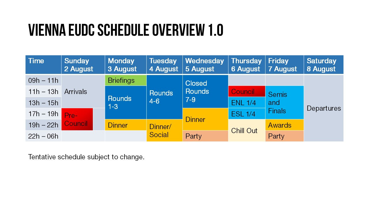 Vienna EUDC Schedule Overview 1.0