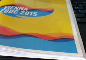 It's nice, yellow and 38 pages strong. The Vienna EUDC participant Broshure is always with you at Vienna EUDC.